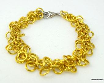 Gold Shag Bracelet, Aluminum Chainmail Bracelet, Aluminum Bracelet, Golden Yellow Chainmail Bracelet, Gift under 25