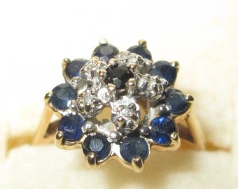 Beautiful Ornate Victorian Style Ladies 10k Sapphire and Diamond Ring, Size 6  / 90 Day Layaway