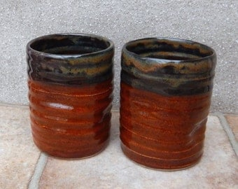 Pair of water juice beaker tumbler cup hand thrown stoneware pottery