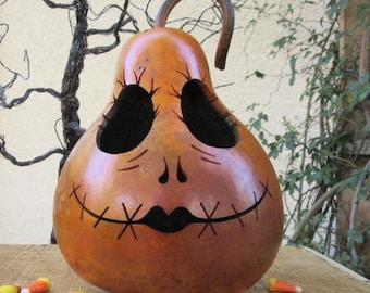 Halloween Gourd Sally Jack Jack O Lantern Primitive Pumpkin Decoration ( inspired by Tim Burton )