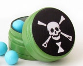 Emanuel Wynn Skull & Crossbones Pill Box - Skull and Crossbones Non Toxic Vitamin Box - Skull Wedding Ring Bearer Box