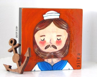 Tattooed Sailor Mixed Media Painting -  Tattooed Henry - Bearded Sailor Wall Hanging