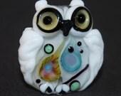 Decorative Lampwork  Owl Focal bead : SRA Lorraine Dowdle