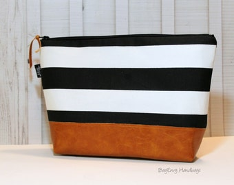 Black and White Vegan Leather - Large Make Up Bag / Diaper Clutch / Bridesmaid Gift
