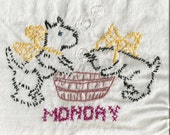 """Vintage Scottie Dog TOWELS  Set of 7 """"Days of the Week""""  Daily Chores  Tea Towels  Cup Towels  Kitchen Towels Hand Embroidery  Cross Stitch"""