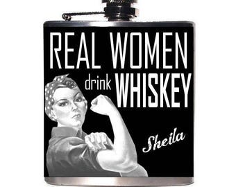 Personalized Flask, Gift for Mom, Gift for Her Under 30, Rosie the Riveter, Bachelorette Party, Whiskey Drinker Gift, 30th Birthday, 21st
