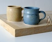 SECONDS SALE - Two mismatched mugs glazed in natural brown and smokey blue