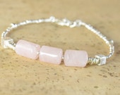 Rose Quartz and sterling silver Bracelet ,Madagascar Rose Quartz Bracelet, Reiki Bracelet ,Pink Bracelet