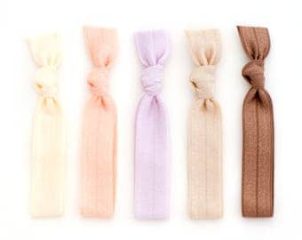 The Blonde Package - 5 Light Hair Tan Elastic Solid Color Hair Ties that Double as Bracelets by Mane Message on Etsy