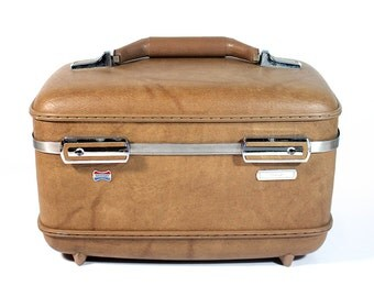 Vintage Brown American Tourister Train Case