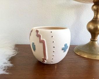 Southwestern Candle Votive / Desert Native Ceramic Candle Holder / Porcelain Geometric Candleholder Cup / Small Tea Light Candle Holder Cup