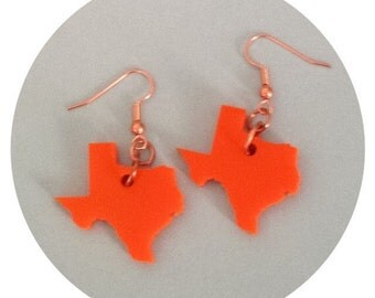 Shape of Texas Earrings, Orange Lasercut Acrylic Plastic, State Jewelry, Acrylic Earrings