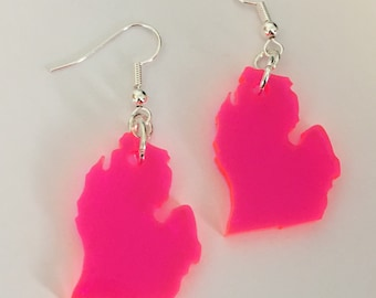 Michigan Earrings, Neon Earrings Pink Acrylic Lasercut State Jewelry