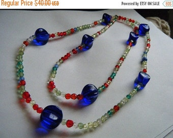 SALE Glass Cobalt Blue and Multi Color Beads Necklace and Earrings Clip Demi Parure