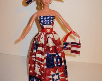 Handmade Barbie clothes - Beautifu Patriotic gown with hat and bag 4 barbie doll