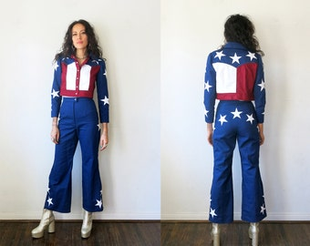 American Flag Suit / Stars and Stripes Cropped Jacket and Pants / Western Denim Jacket Sz S