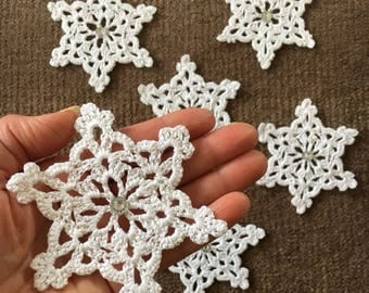 D-44(9) Christmas Snowflake, cotton + farina, New Year, Small Doily, Crochet Christmas Ornaments, snowflakes