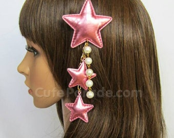Metallic Pink Triple Star Hair Clip Brooch with White Pearls- Lolita Fairy Kei Decora Kawaii Shooting Star Hair Accessory