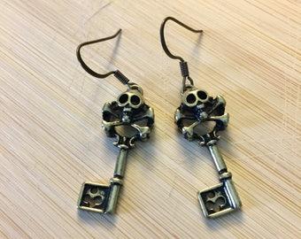 Skull Earrings -  Antique Brass Skeleton Key Earrings