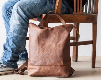 Backpack in brown leather unisex, simple backpack bag everyday bag backpack laptop 13 back bag-The Minos Bag