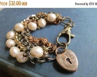 SALE Della's Heart - Multi Mixed Vintage Chain Bracelet and Antique Heart Lock Charm