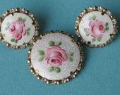 Pin & Earrings Set Enamelled Pink Roses on White Vintage 1960's Rhinestone Edges Guilloche Background