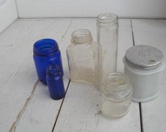Vintage Glass Bottles Blue Clear set of 6