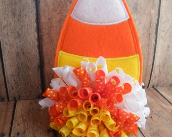 "4"" Halloween Bow, Candy Corn Korker, Candy Corn Bow, Orange Bow, Fall Bow"
