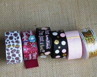 SALE LOT #13 30 yards grosgrain ribbon, Ticket, cheetah or leopard, flowers, dots, hearts, damask