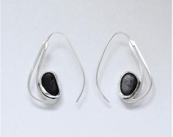 Sea Glass Jewelry - Sterling Rare Black English Sea Glass Semi Hoop Earrings