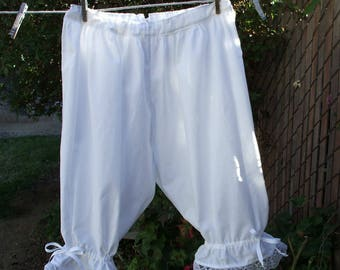 Ready now!  Women's LARGE WHITE Civil War Bloomers Crotchless Cotton Pantaloons Lace Trim