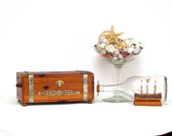 Nautical Ship Trunk Style Box, Vintage and Rustic, Perfect for Table and Dresser Top Documents Treasures and Trinkets