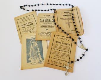 Vintage Spanish Religious Pamphlets, Spanish Holy Tracts, Spanish Mixed Media Ephemera, Religious Ephemera, Assemblage Supply