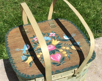 Vintage Large Mid Century Floral Pie Carrier Basket Wooden Wicker Basket With Pie Stand Picnic