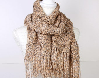 Knitting mustard ,gray , Shawl,Stole ,Perfect for Spring Summer,