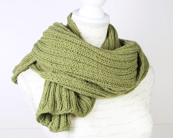 Green Knitting Shawl, scarf ,Perfect for winter,long