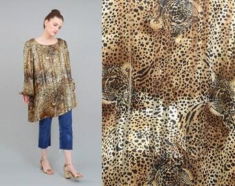 Vintage 80s Leopard Blouse, Sheer Striped Blouse, Oversize Top, Animal Print Shirt, Asymmetrical Hem Large, Puff Sleeve Blouse L XL