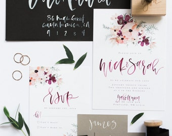 Blush + Burgundy Floral Calligraphy Wedding Invitation Suite