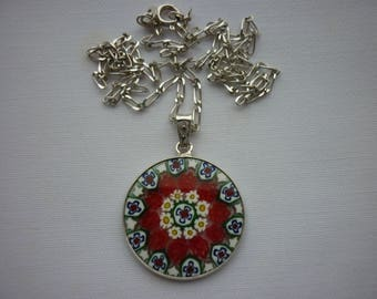 Italian Sterling Silver and Glass Millefiore Necklace Pendant