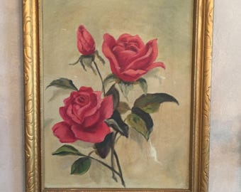 Vintage Oil Painting Red Roses, Gold Frame