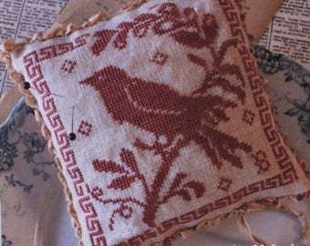 Bird in Hand - Cross Stitch Patter by BLACKBIRD DESIGNS Reward of Merit Pincushion - Pin Cushion - Needlework Small - Red Bird