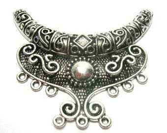 Pewter Focal Scroll Pendant - Link/Connector (64mm)