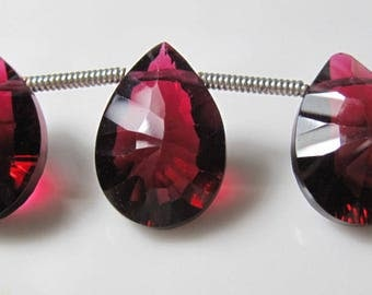 4 Beads Set - Lovely Dark Rhodolite QUARTZ Concave Both Side Faceted Pear Briolettes