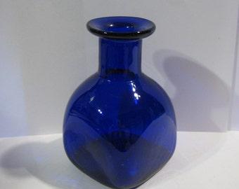 Cobalt Blue Bottle, Vintage Ink Bottle, Blown Glass Ink Bottle, Flat Top Bottle, Flat Top Ink Bottle, Vintage Blue Ink Bottle, Vintage Ink
