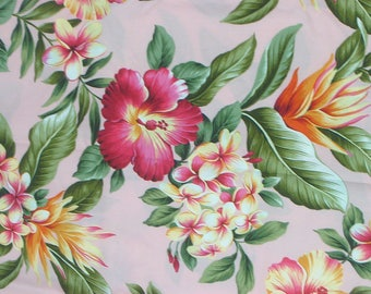 Marianne of Maui Hawaiian Quilting Fabric Pink with White Flowers ... : hawaiian quilting fabric - Adamdwight.com