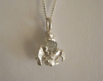 Rough Raw Diamond Pendant - Small Necklace - Sterling Silver and Fine Silver - Ready to Ship