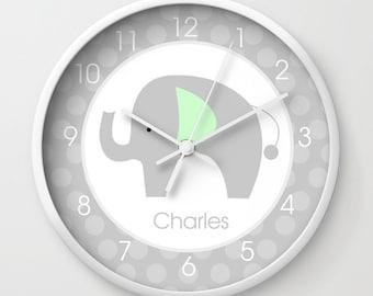Gray Mod Elephant with Mint Green Ear Nursery Wall Clock 10-inch, Add name