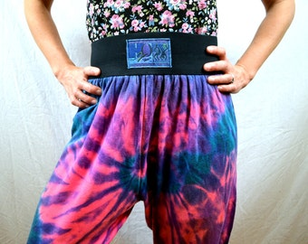 Vintage 80s Neon Rainbow H2O Fun Wear Hammer Time Harem Baggy Pants