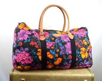 Vintage 80s 90s Floral Weekender Overnight Tote Bag - Gitano