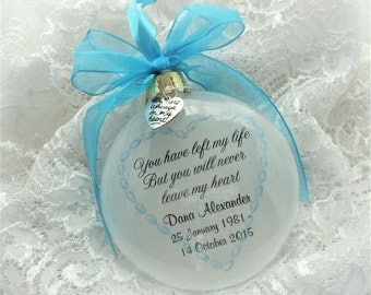 Baby Miscarriage, Baby Death, Ornament, Free Personalization and Charm, You Have Left My Life, Memorial, In Memory